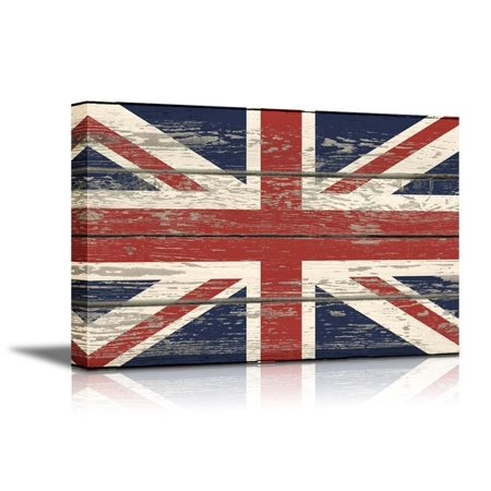 wall26 - Canvas Prints Wall Art - Flag of UK/Union Jack on Vintage Wood Board Background Stretched Canvas Wrap. Ready to Hang - 32