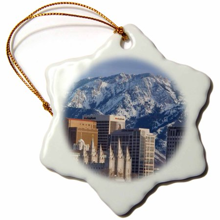 3Drose Wasatch Mountains  Salt Lake City Skyline  Utah Usa   Us45 Bjn0000   Brian Jannsen  Snowflake Ornament  Porcelain  3 Inch