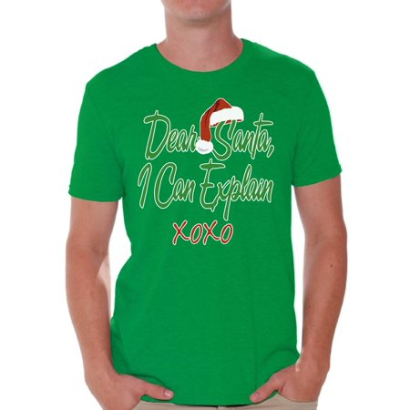 Awkward Styles Dear Santa I Can Explain XOXO Christmas Shirt Santa Hat Christmas Tshirts for Men Ugly Christmas Shirt Funny Tacky Party Holiday Men's Holiday Tee Xmas Santa XOXO Holiday Top (Mens Christmas)
