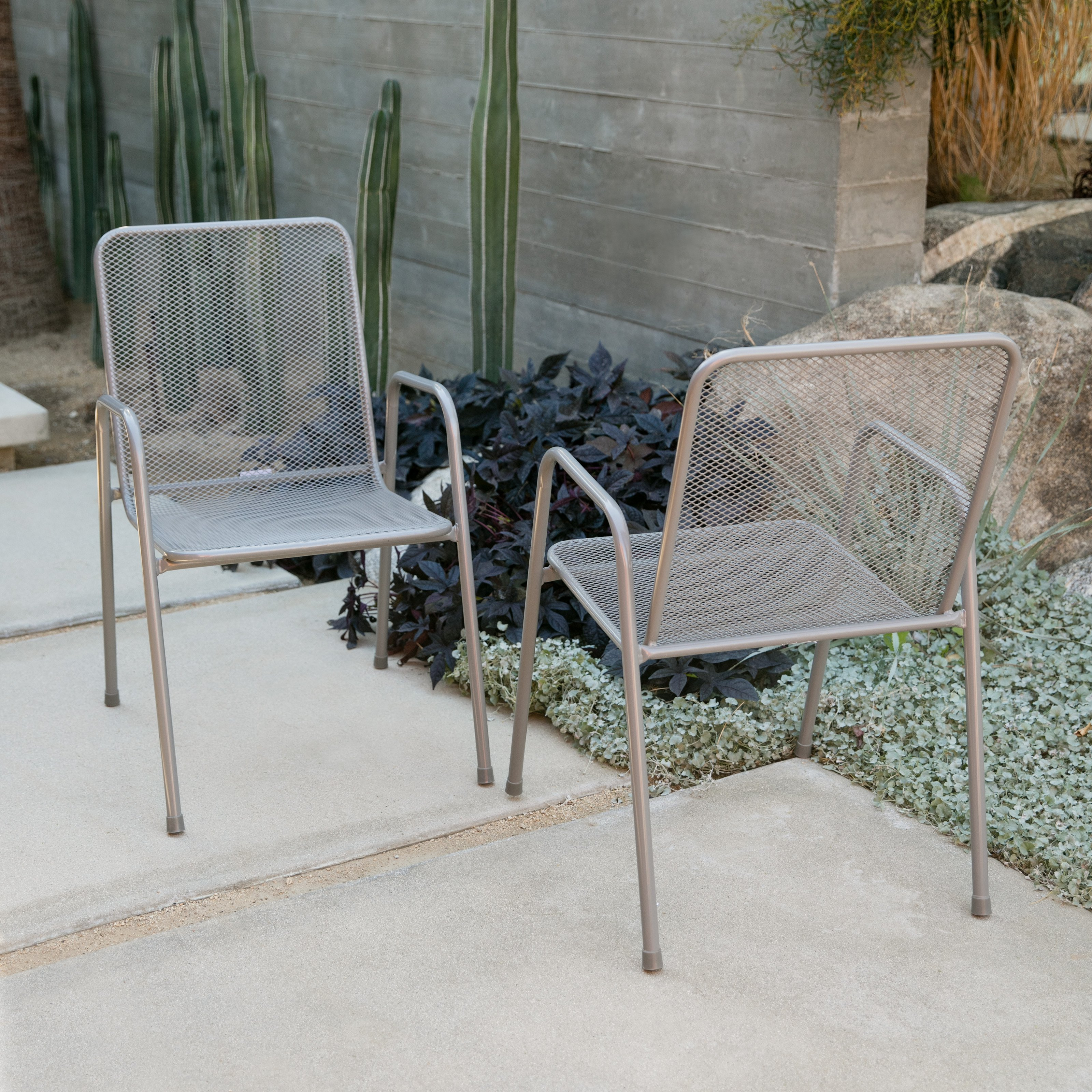 Coral Coast Sanders Steel Mesh Patio Dining Chair by