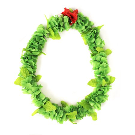 Hawaii Luau Party Artificial Fabric Royal Lei Green - Artificial Hawaiian Leis