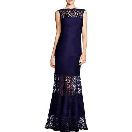 Tadashi Shoji Womens Lace Pintuck Evening Dress