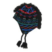 Aquarius Boys Colorful Black Skull Mohawk Hat Fringe Peruvian Style Trapper