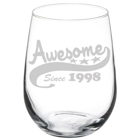 Wine Glass Goblet Funny 21st Birthday Awesome Since 1998 (17 oz Stemless)