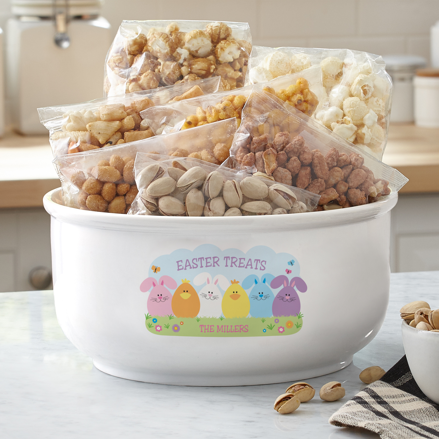 Personalized Spring Friends Popcorn Bowl
