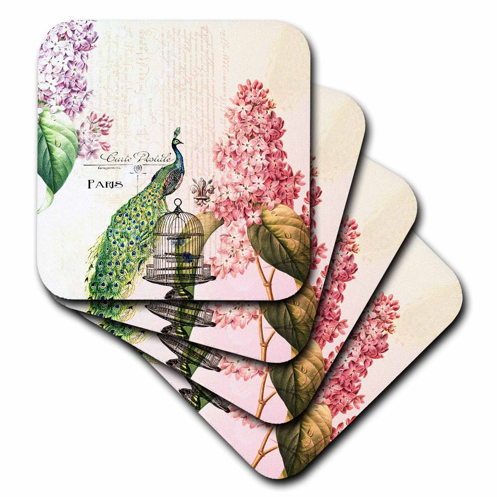 3dRose Paris Peacock with hydrangea flowers, Ceramic Tile Coasters, set of 4