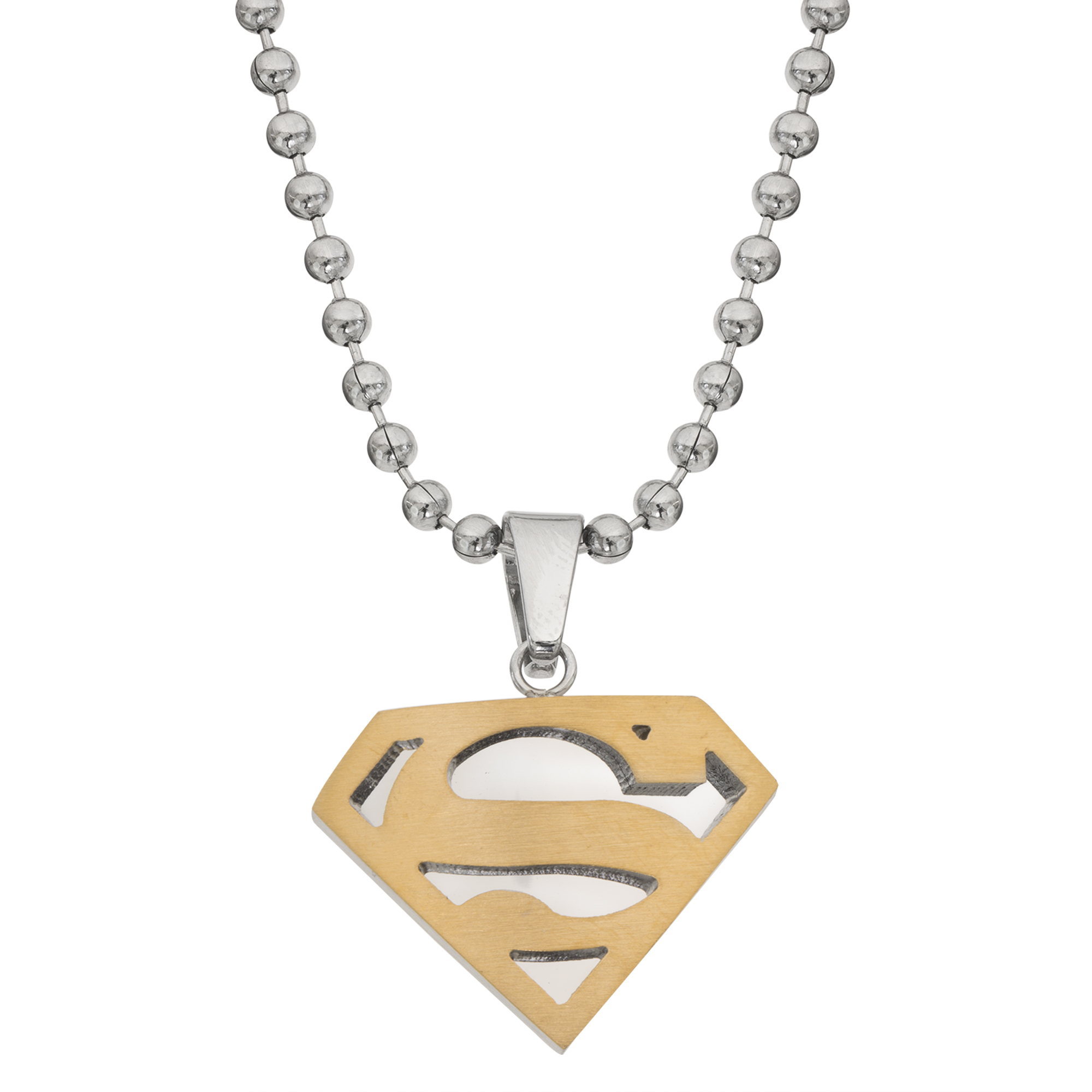 """SUPERMAN VINTAGE METAL NECKLACE 18"""" WITH CHAIN NEW OLD STOCK"""