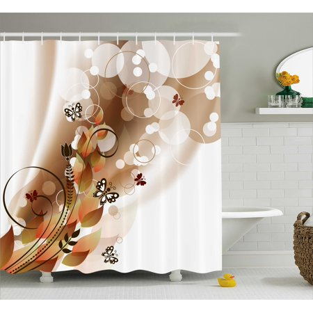 Tan Shower Curtain Spring Themed Abstraction Cute Butterflies Flower Petals And Tulip Leaves Fabric