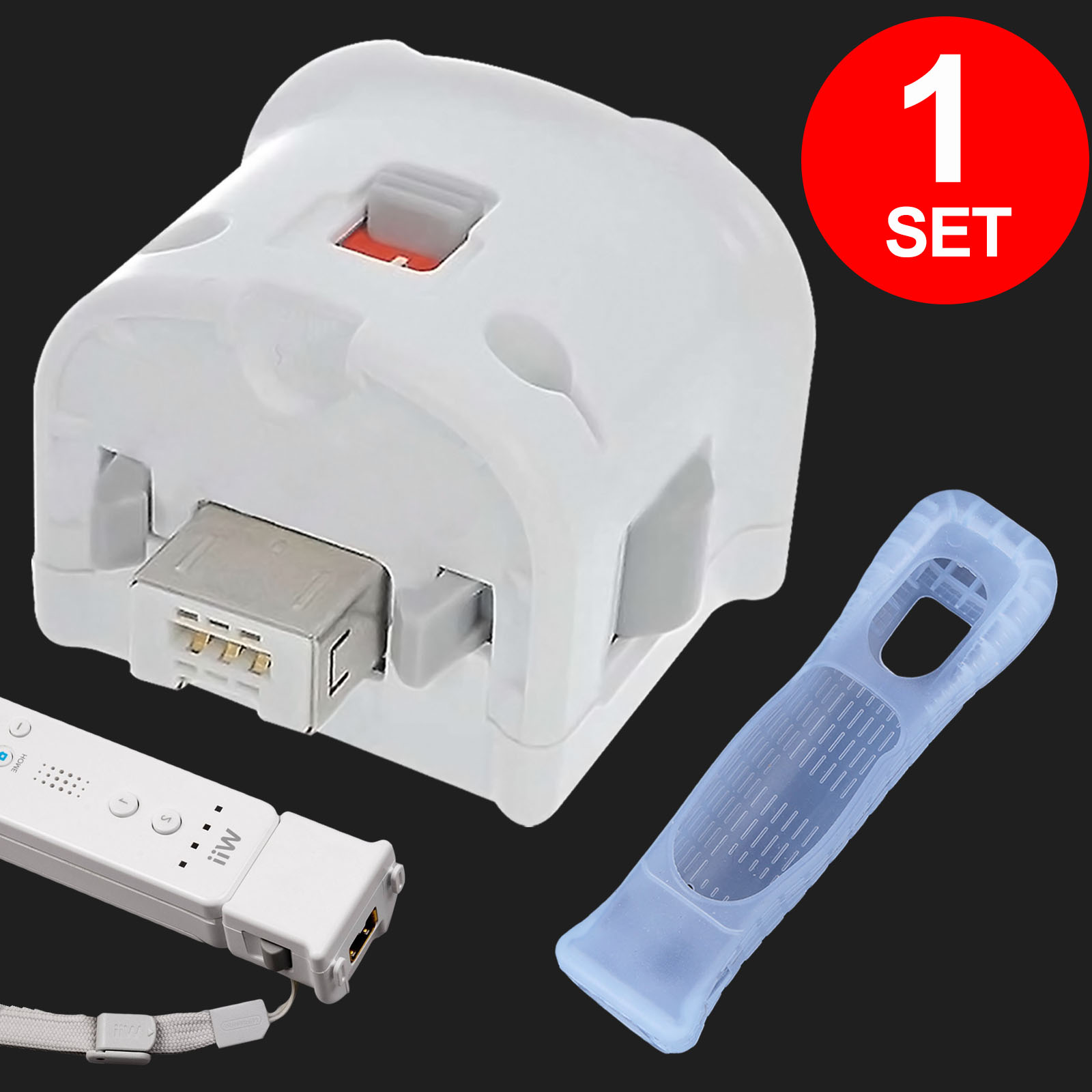 TSV Wii Motion Plus Adapter Wii Remote Plus Sensor Adapter & Silicon Case Cover For Nintendo Wii Remote