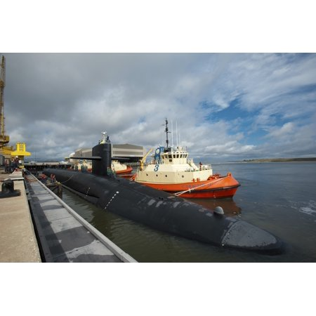 Ballistic missile submarine USS Tennessee at Naval Submarine Base Kings Bay Stretched Canvas - Stocktrek Images (35 x 23)