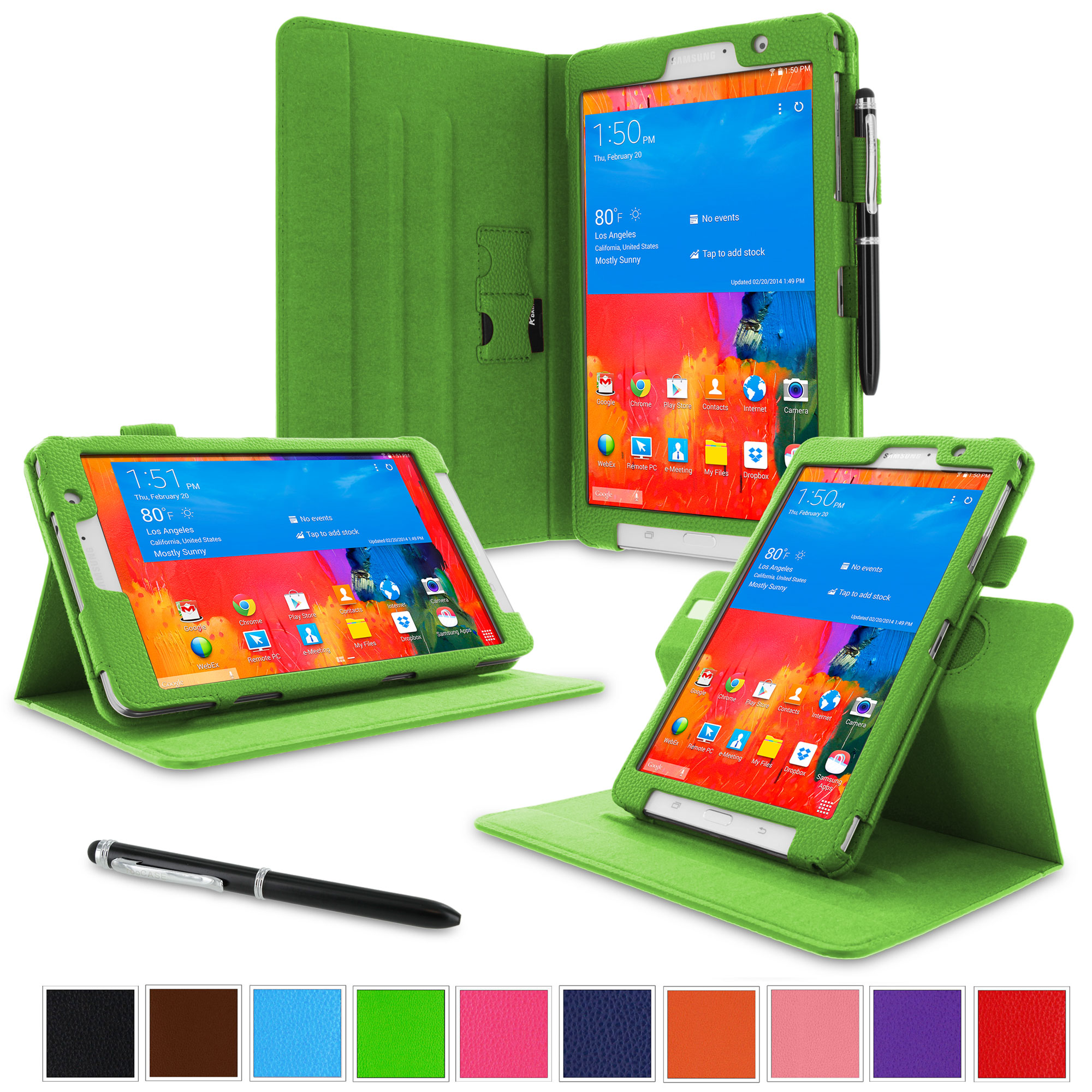 """rooCASE Samsung Galaxy Tab Pro 8.4 Case - Dual View Multi-Angle Stand 8.4-Inch 8.4"""" Tablet Case - GREEN (With Auto Wake / Sleep Cover)"""