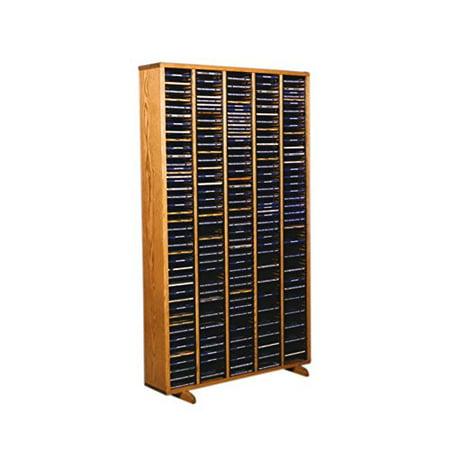 Cdracks Media Furniture Solid Oak Tower for CD Capacity 400 CDs Honey Finish (Individual Locking Slots)