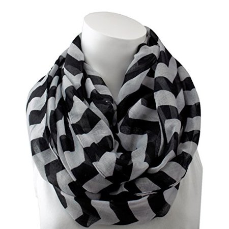 Womens Fashion Infinity Scarf - Pop Fashion Womens Chevron Print Lightweight Infinity Scarf