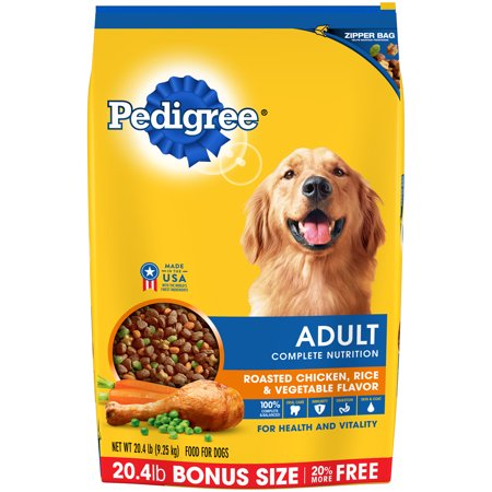 Pedigree adultes Aliment complet Poulet rôti, riz et saveur de légumes Croquettes pour chien 20,4 livres