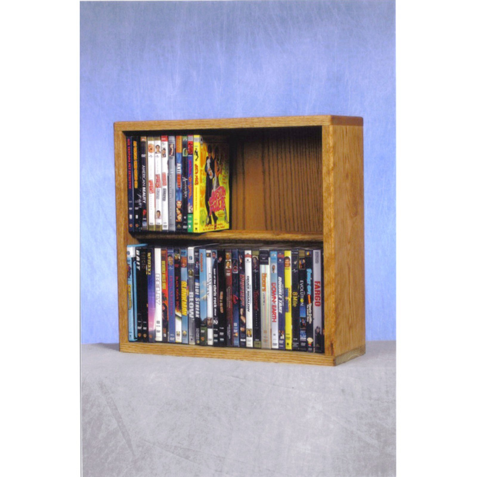 The Wood Shed Solid Oak 2 Row Dowel CD   DVD Combination Media Rack 18 in. Wide by The Wood Shed