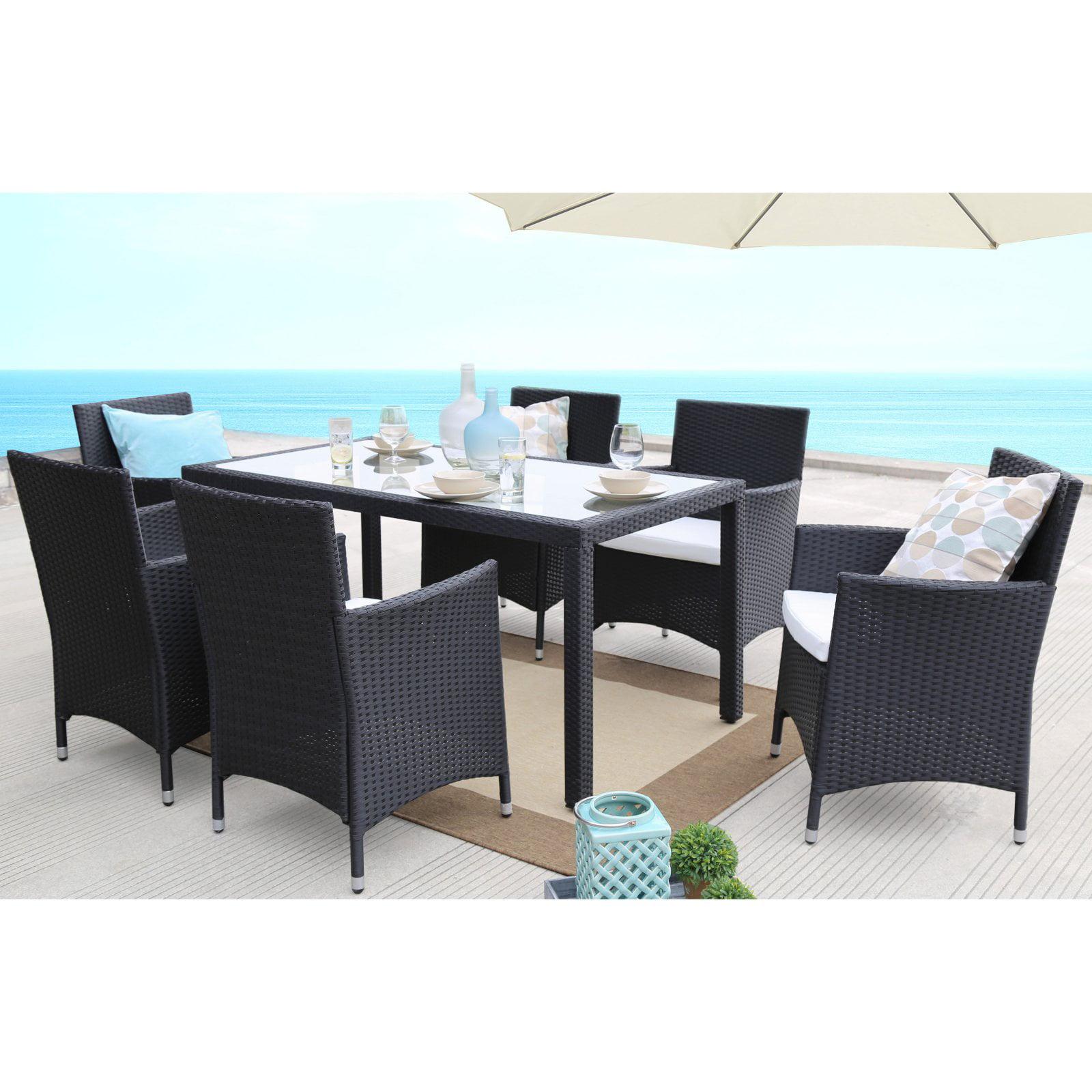 Baner Garden Outdoor Furniture Complete Patio PE Wicker Rattan Garden Dining Room Set, Black, 7-Pieces by Overstock
