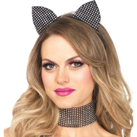 Leg Avenue Women's Rhinestone Cat Headband and Chocker Costume Accessory, Black, One Size - Cat Costume Accessories