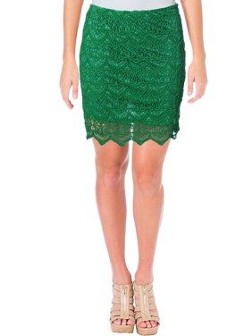 Design Lab Womens Crochet Scalloped Hem Mini Skirt