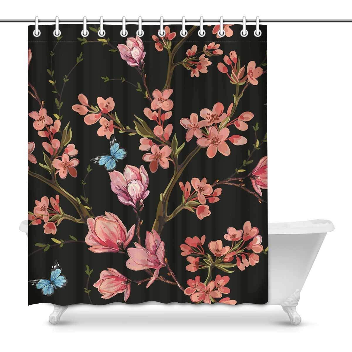 GCKG Butterflies Tropical Japanese Flowers Shower Curtain, Magnolia ...