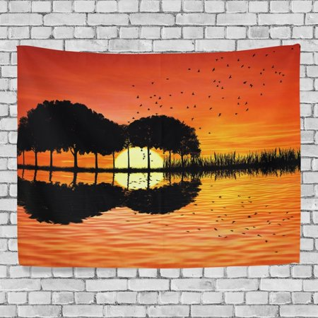 POPCreation Music Note Guitar Wall Art Decoration, Orange Sunset Ocean Bird Bedroom Living Room Dorm Wall Hanging Tapestry 40x60 inches - Music Note Decorations