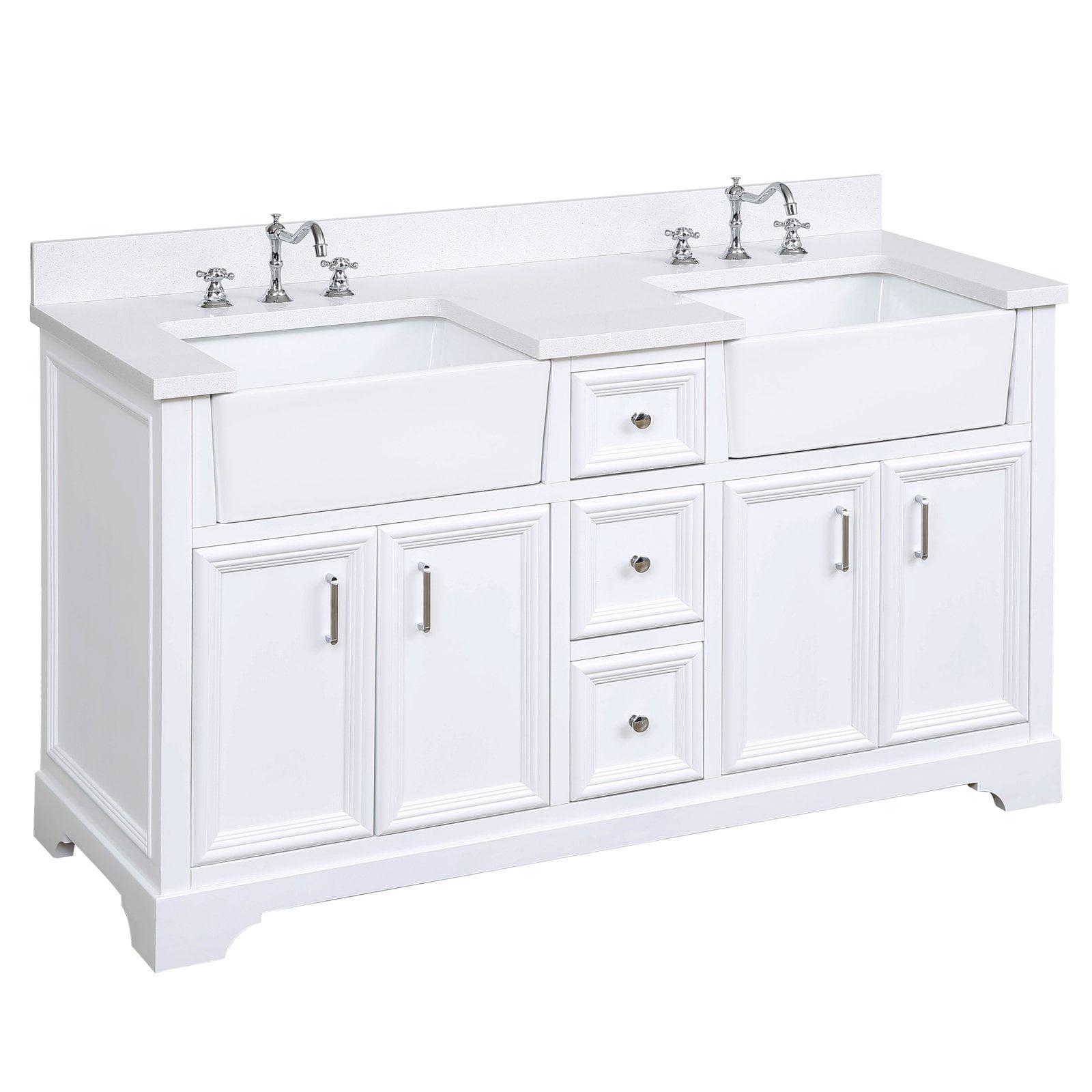Picture of: Includes A Quartz Countertop And White Ceramic Farmhouse Apron Sink Quartz Powder Gray Powder Gray Cabinet With Soft Close Doors Drawers Zelda 60 Inch Single Bathroom Vanity Bathroom Vanities