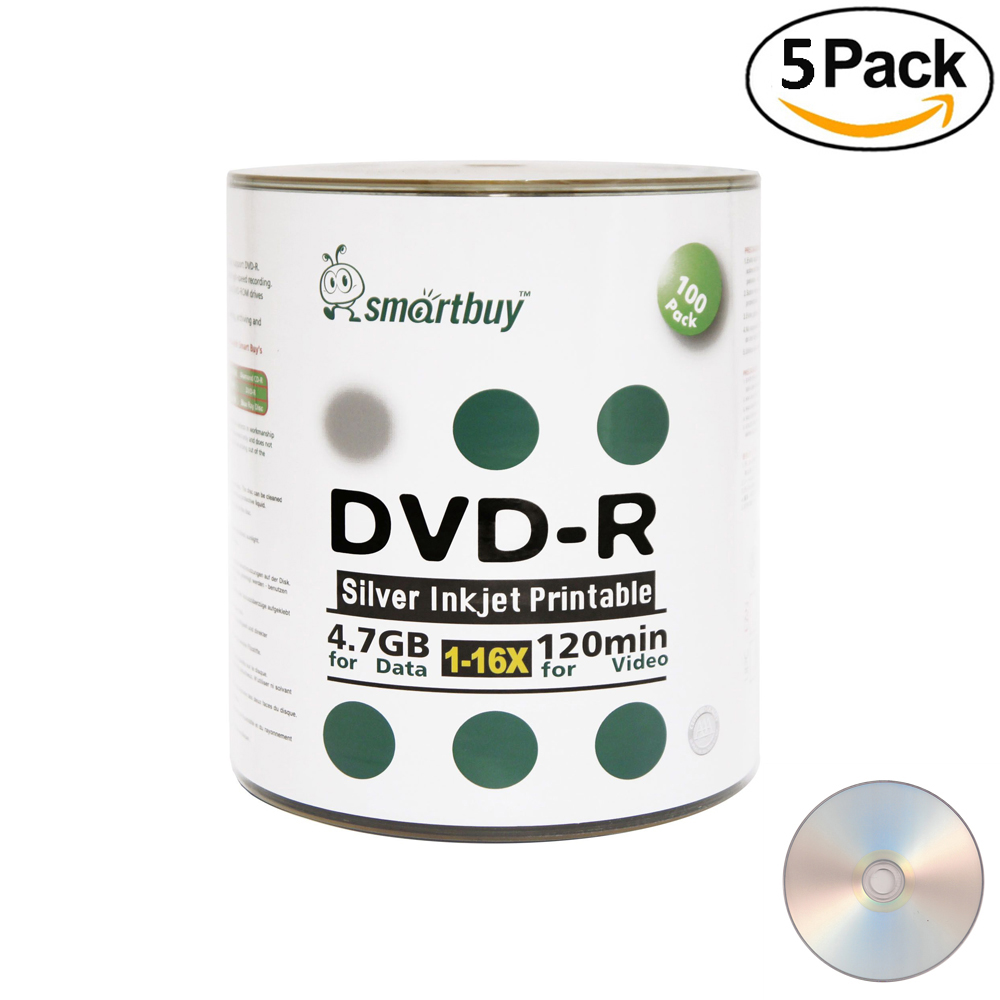 500 Pack Smartbuy 16X DVD-R 4.7GB 120Min Silver Inkjet Hub Printable Data Blank Media Recordable Disc