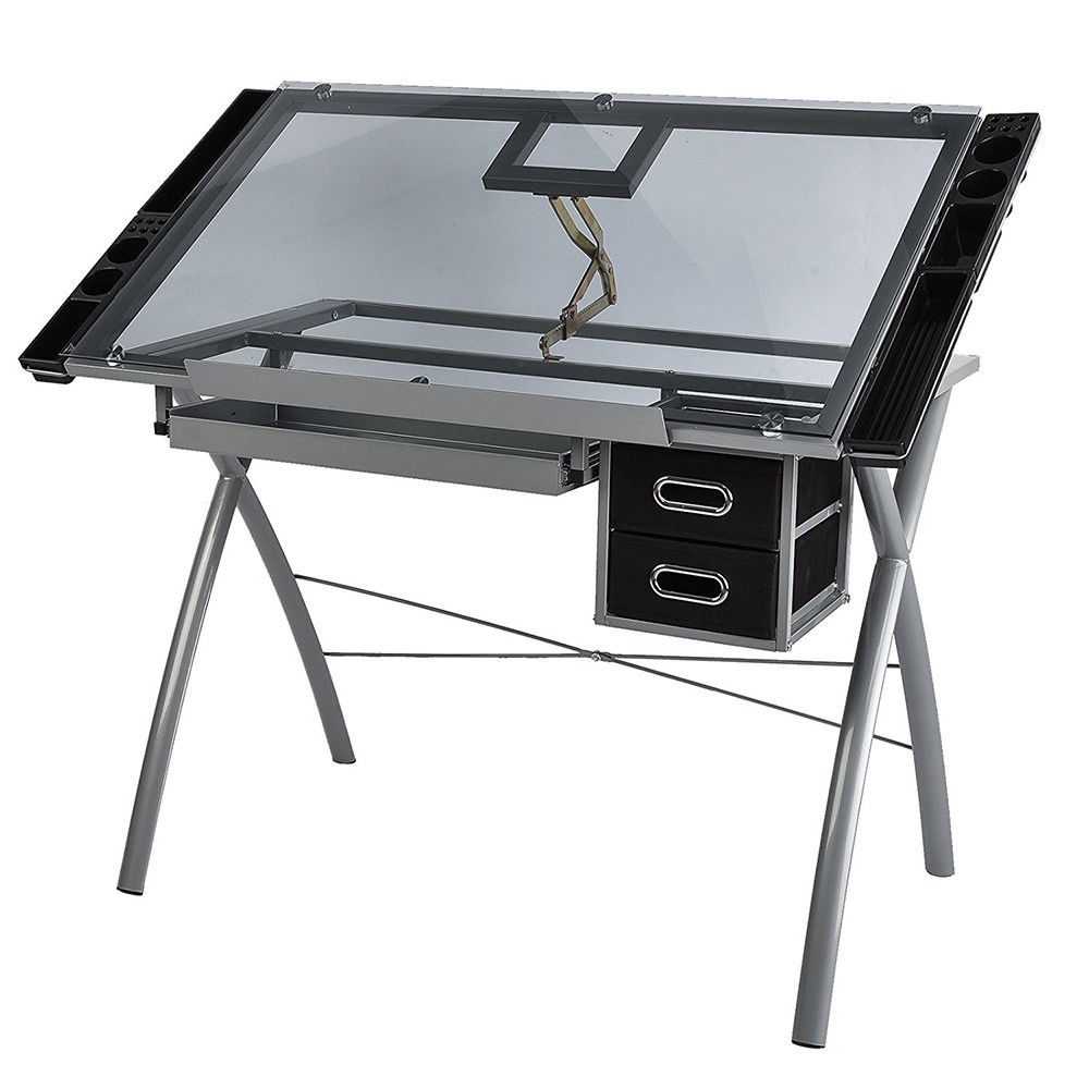 Zimtown Adjustable Drawing Desk, 90cm x 60cm Tempered ...
