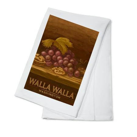 Walla Walla, Washington - Red Grapes & Walnut - Oil Painting - Lantern Press Artwork (100% Cotton Kitchen Towel)