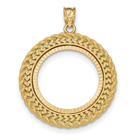 14K Yellow Gold Double Row Diamond Cut Prong 0.25AE Bezel Pendant