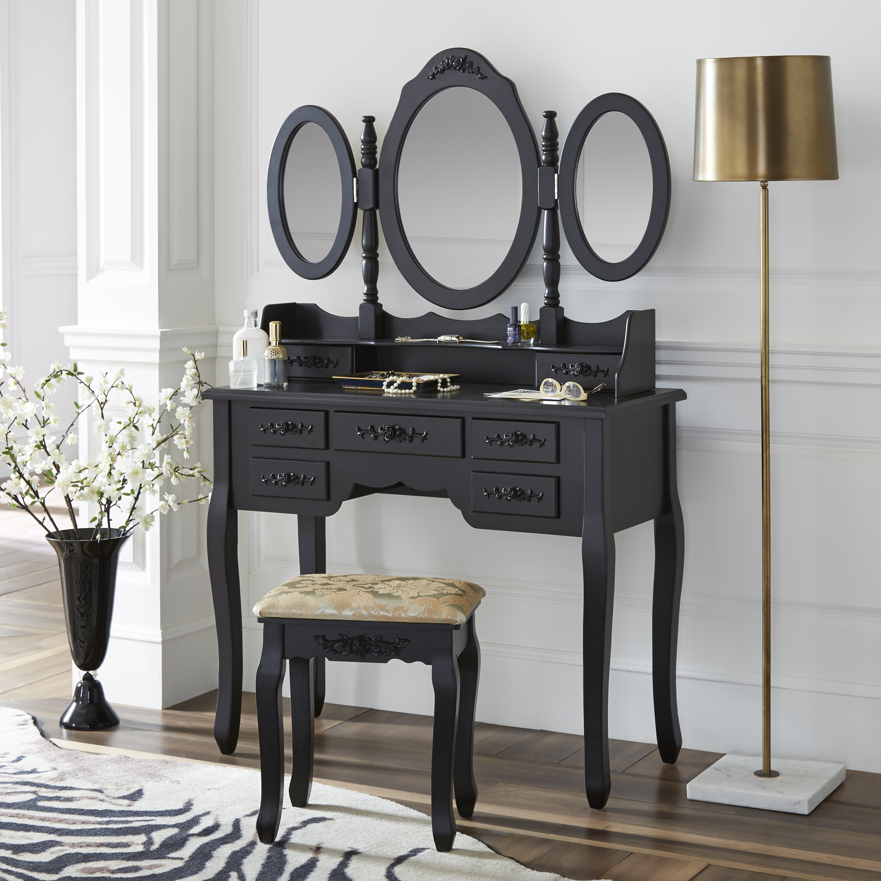 Fineboard Vanity Set with Stool Makeup Table with Seven Organization Drawers 3 Oval Mirrors, Black