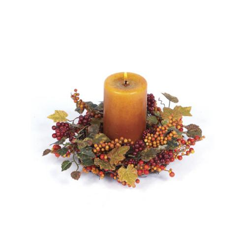 "11"" Autumn Harvest Decorative Red and Orange Berries and Grape Leaf Fall Candle Ring or Wreath"