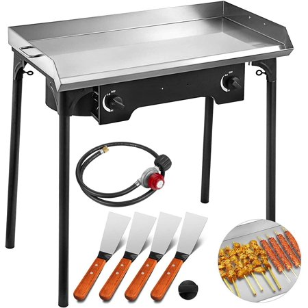 VEVOR 32x17 Inches Double Burner Stove Griddle Flat Top 2 Burner Propane Gas Grill Griddle Stainless Steel with 4 Griddle Spatula and Scraper Double Burner Grill Griddle