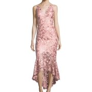 XSCAPE Womens Pink Lace  Gown Sleeveless V Neck Midi Hi-Lo Formal Dress  Size: 2