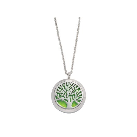 Personal Aromatherapy Necklace - Stainless Steel Tree Pendant with 12 Felt Pads for Essential Oils (Personal Necklaces)