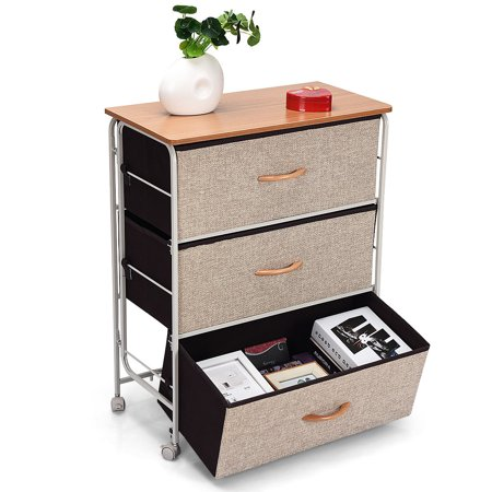 3 Drawer Fabric Storage Organizer Unit Side Table Dresser