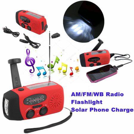 Weather Radio Emergency Hand Crank Radio Generator Solar AM/FM/WB Radio Flashlight r,Red
