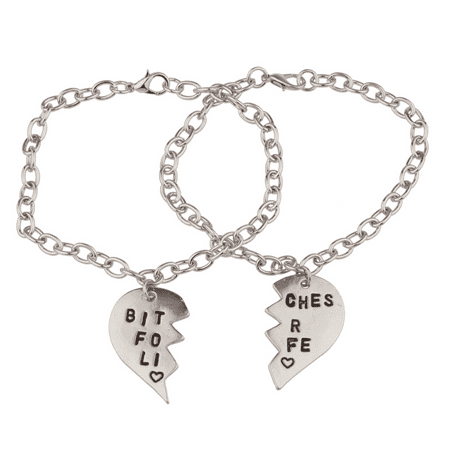 Lux Accessories Bitches for Life Heart BFF Best Friends Forever Bracelet Set (2