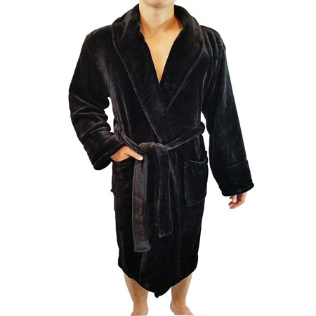 Men's Full Length Shawl Collar Velour Microfiber Fleece Bathrobe Spa Robe ()