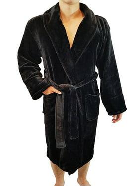 95de724d56 Product Image Men s Full Length Shawl Collar Velour Microfiber Fleece  Bathrobe Spa Robe
