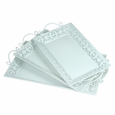 Rectangular Metal Tray With Handle, Set Of 3, White