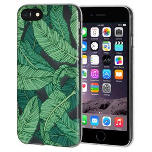 iPhone 6s Plus/ iPhone 6 Plus Case, Soft Gel Clear TPU Back Case Impact Defender Skin Cover for iPhone 6s Plus and iPhone 6 Plus - Tropical Leaf