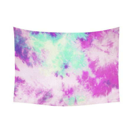 GCKG Trippy Colorful Tie Dye Psychedelic Tapestry Horizontal Wall Hanging Purple Hippie Tie Dyed Wall Decor Art for Living Room Bedroom Dorm Cotton Linen Decoration 80 x 60 Inches