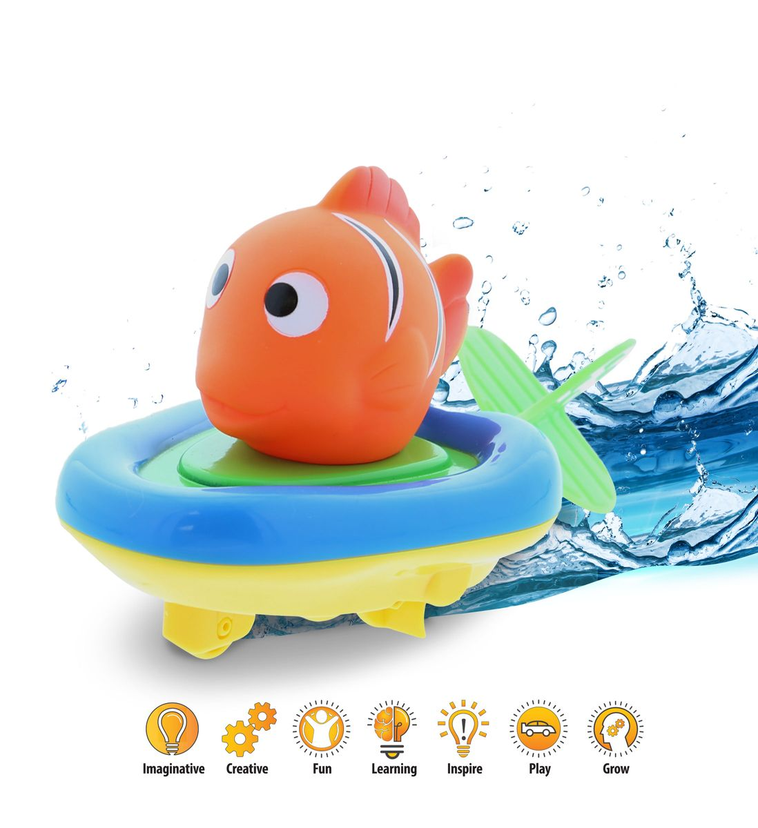 "Boat Racer Buddy Pull n Go Float Bath Toy 6"" for Baby Toddler – Orange Reef Fish"