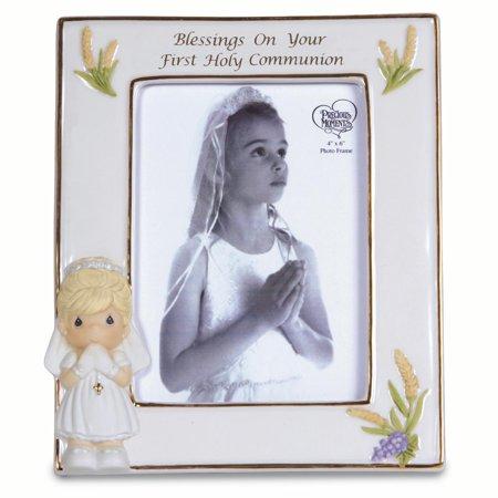 First Holy Communion Porcelain - Precious Moments Blessings Girls First Holy Communion Photo Frame (6x0.44inch)