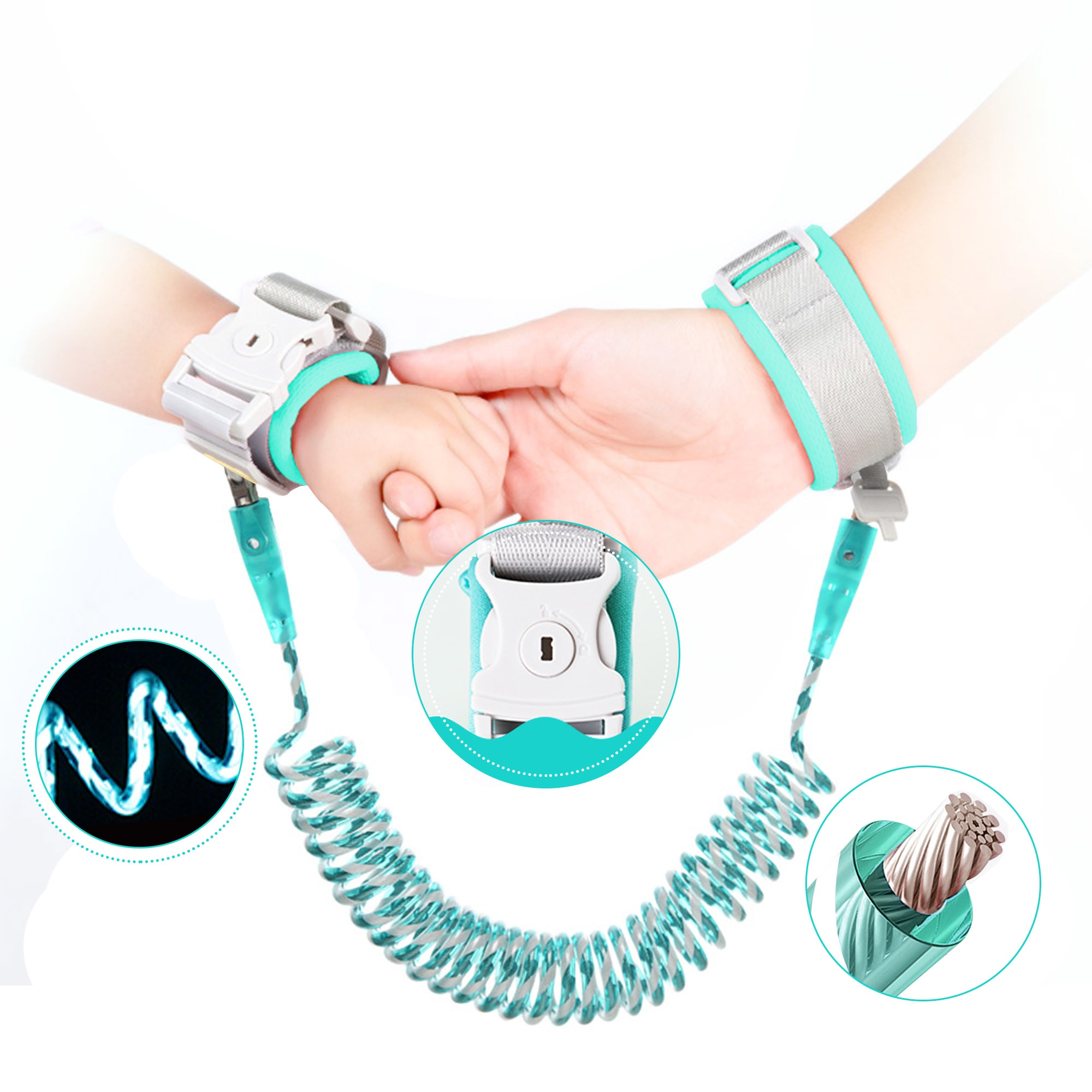 Reflective Anti Lost Wrist Link with Child Lock, Toddler Safety Harness Leash Child Anti-Lost Wristband Traction Rope for Outdoor Activities Walking Shopping