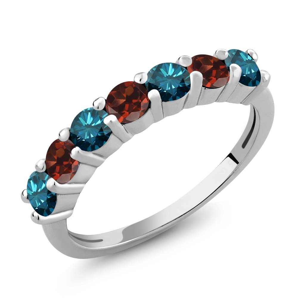 1.20 Ct Round Blue Diamond Red Garnet 925 Sterling Silver...