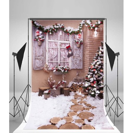 - MOHome Polyster 5x7ft Christmas Decoration Tree Backdrop Stocking Pine Twigs Firewoods Heavy Snow Countyard Winter Xmas Photography Background Kids Children Adults Photo Studio Props