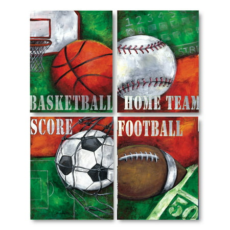 Popular Sports Prints; Basketball, Baseball, Football, and Soccer; Four 11x14 Poster Prints