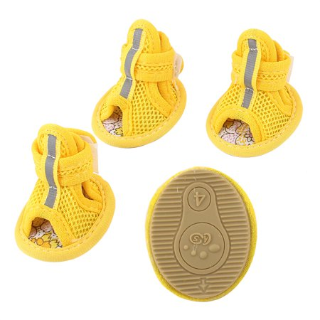 Pet Yorkie - Unique Bargains 2 Pair Pet Dog Yorkie Foot Pretect Meshy Shoes Boots Booties Yellow Size XS