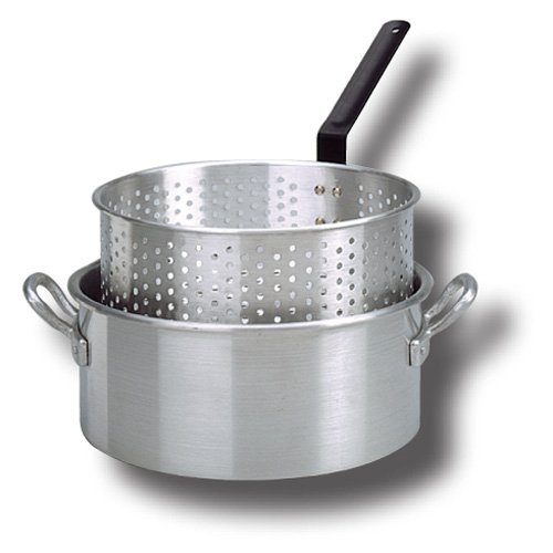 KING KOOKER Model# KK1-10 qt. Aluminum Fry Pan with Long Handle and Basket